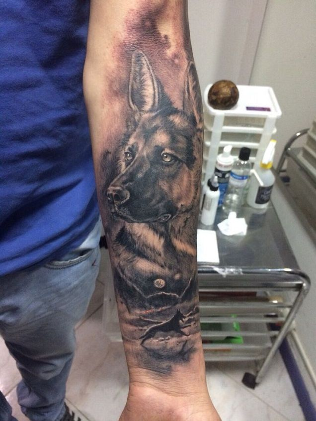 german shepherd arm tattoo pics