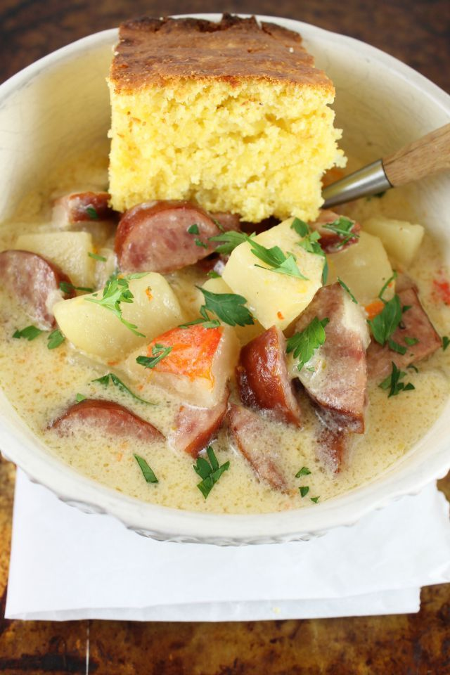 {Slow Cooker} Cheesy Smoked Sausage and Idaho Potato Soup Recipe from Miss in the Kitchen
