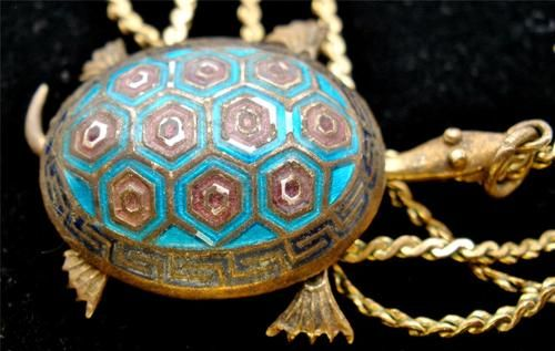 Vintage Articulated Enamel Turtle Necklace Silver Gold Filled Hand Painted Blue | eBay