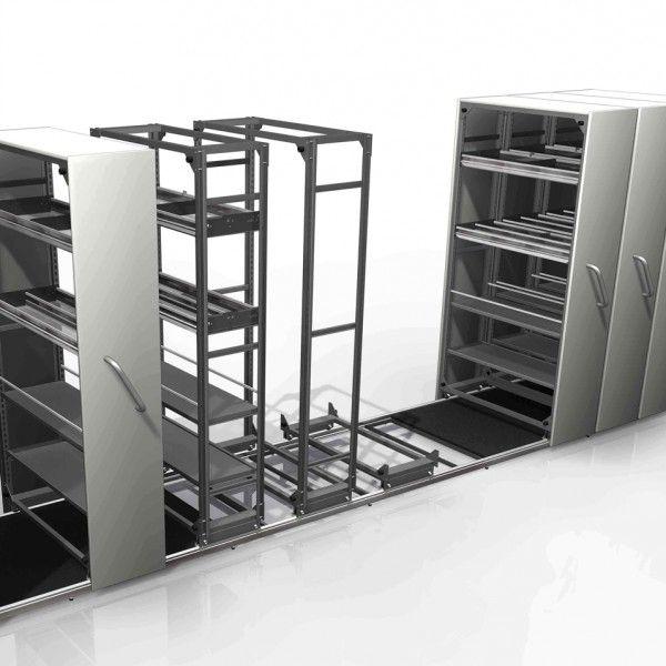 CAJONERA MÓVIL - REF: MUEBLE CORREDIZO: Es un mueble estudiado para organizar y ordenar la zona de almacén situada en la trastienda de la farmacia.