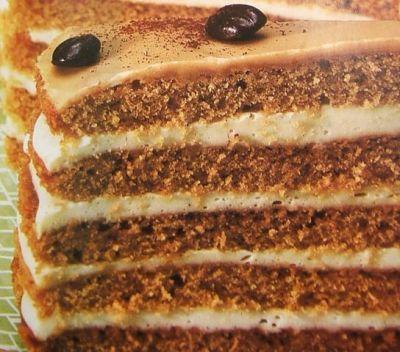 Торт «Мокка-панакотта» Тесто. 300 гр мягкого масла сливочного 300 гр сахара 1 пачка Ванилина 2 Ст.л. с горкой растворимого кофе-порошка 6 яиц 200 гр муки 100 гр крахмала 2 чайн. л. разрыхлителя для теста. 2 ст.л. рома.