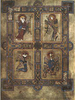 Libro de Kells (Irlanda), finales siglo VIII. El folio 27 contiene los cuatro símbolos de los evangelistas. San Mateo, el hombre; san Marcos, el león; san Lucas, el toro; san Juan, el águila.