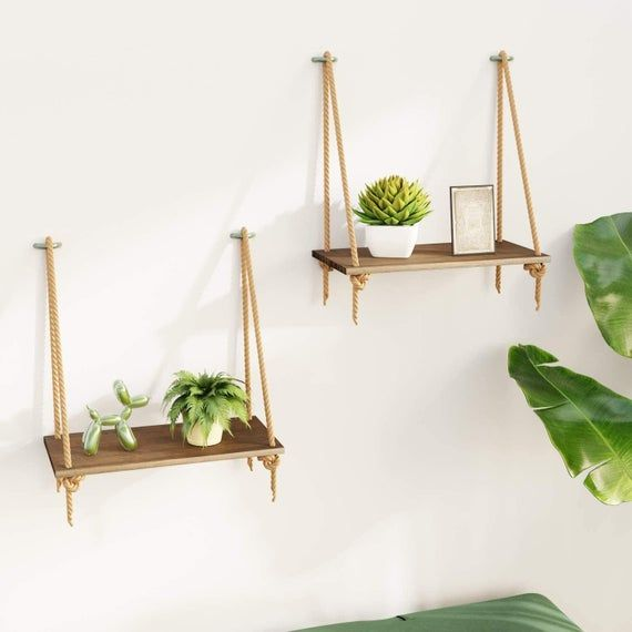 2 Hanging Wall Shelves With Swing Rope And A Bamboo Finish Storage Shelves For Living Room Bedroom Bathroom And Kitchen In 2020 Wall Hanging Shelves Hanging Storage Shelves Hanging Storage #storage #shelves #living #room