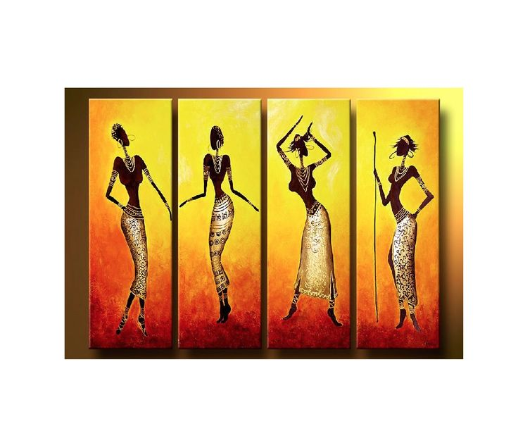 Abstract Oil Painting African Ladies: Ready To Hang  In Depth 100% handmade Oil Painting Wall Decor on canvas. Model Number: JEN-315167 Type: handmade Style: Abstract Subjects: African Ladies Medium: Oil Support Base: Canvas Size: 90 x 30cm x 4 pce Weight: 2kg Delivery Date: In stock: within 14 working days; out of stock: 21 - 30 working days