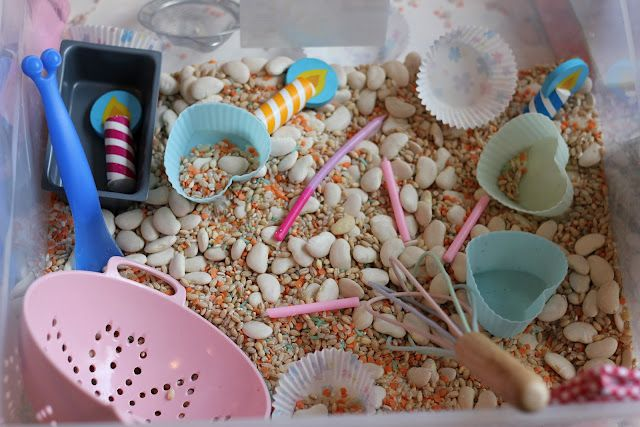 Baking Sensory Tub with real cooking equipment! by The Imagination Tree    What else could you add to the mix?