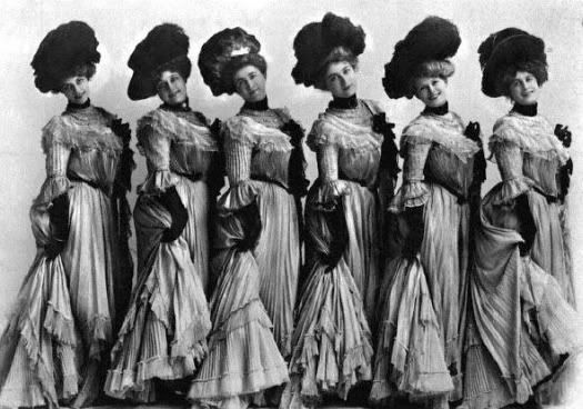 "Floradora girls.  ""They flirt with girls too freely and it's not the same girl twice."" Crooned by Joe Singer in ""The Secret Life of Anna Blanc."" Hear the music at http://en.wikipedia.org/wiki/Florodora  (Scroll to the bottom of the page)"