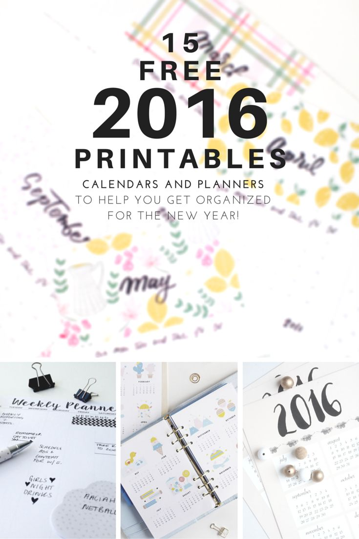 Free printables to keep one organized in 2016