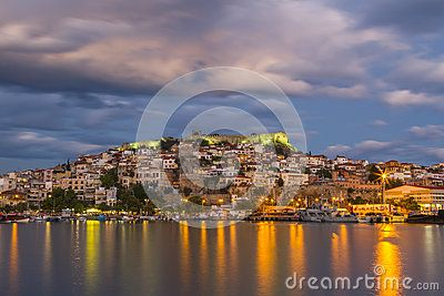 This is the port of the town of Kavala, in Northern Greece. The part of the city that can be seen is the Old Town, with the byzantine castle on top of the hill.