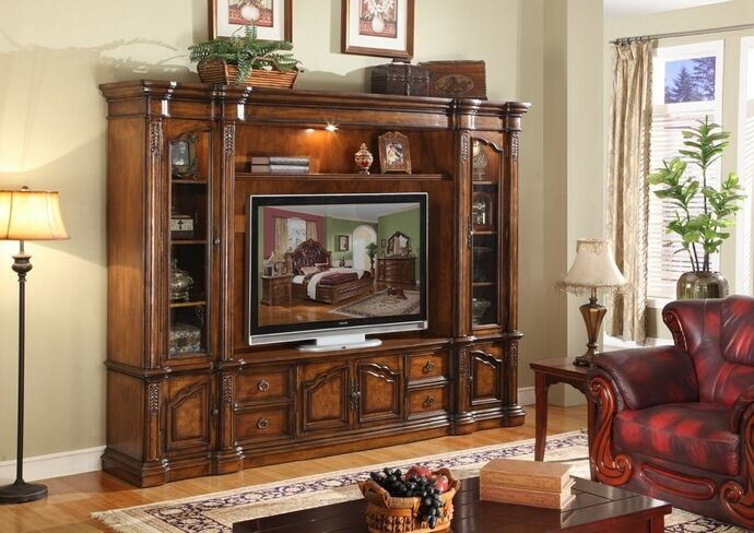 4 Pc Medium Finish Medium Sized Wood Entertainment Center