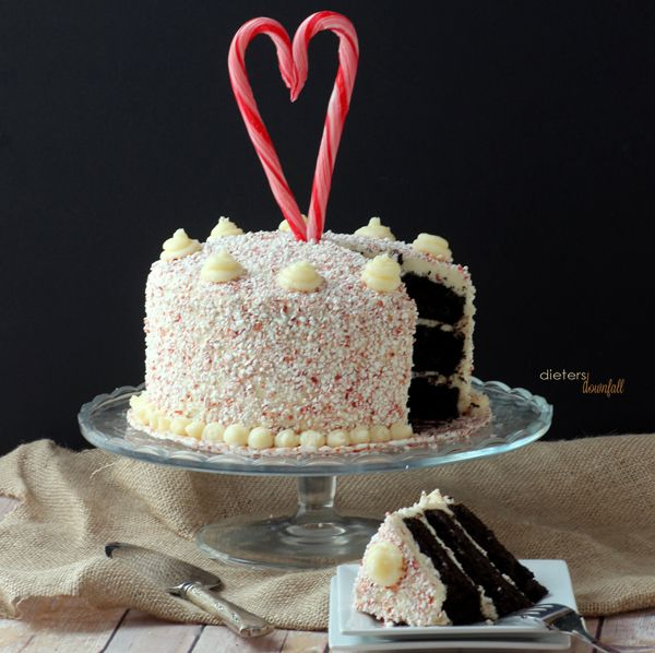 Triple Layer Dark Chocolate Cake with a White Chocolate Candy Cane Frosting! from #Dietersdownfall.com