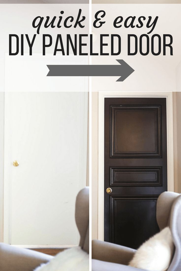 How to make a DIY door panel - take an old hollow core door and turn it into a beautiful DIY 3-paneled interior door with just a little bit of work!