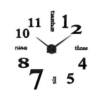 Iso seinäkello tee-se-itse. Paketti sisältää kaikki tarvittavat osat, joita kelloon tarvitset. Tämä seinäkello tuo näyttävyyttä seinälle kuin seinälle!  Toimii yhdellä AA-paristolla (ei mukana).     Koko: halkaisija 120cm, tuntiviisari 31,5cm, minuuttiviisari 39cm, numeroiden koko 16cm  Materiaali: muovi / vaahtomuovi  Väri: musta