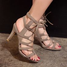 Verano mujer punta abierta Lace up Gradiator botines de cuero genuino del recorte sandalias con tacones botines cortos zapatos de mujer zapatos(China (Mainland))