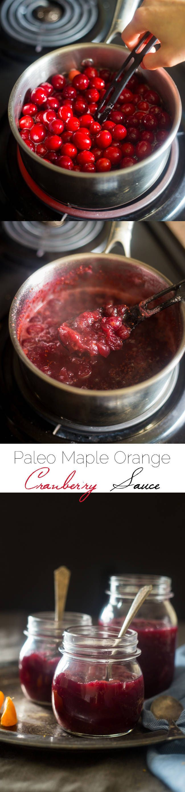 Paleo Maple Orange Cranberry Sauce - This healthy, homemade cranberry sauce uses only 3 ingredients and is Paleo friendly and refined- sugar free! It's ready in 30 minutes and is perfect for Thanksgiving! | Foodfaithfitness.com| @FoodFaithFit