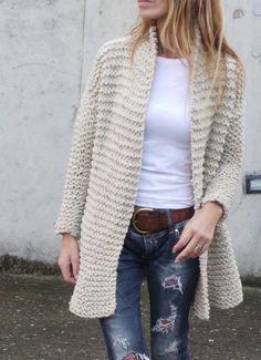 oatmeal knitted jacket swing jacket hand knit jacket por ileaiye