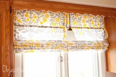 no-sew Roman shades made from mini-blinds and a Target tablecloth--I think this is the easiest tutorial I've found yet, from Objective: Home