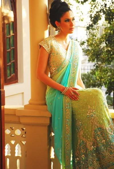 Color combination and work is beautiful. Half Saree
