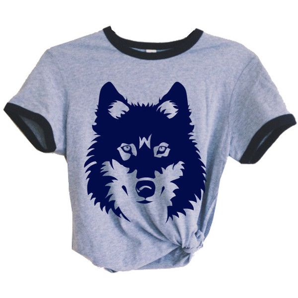 Womens Vintage Wolf Retro Boho Festival Fashion Gypsy Ringer Tee Short... ($32) ❤ liked on Polyvore featuring tops, t-shirts, shirts, crop tops, blue, women's clothing, blue t shirt, vintage t shirts, retro t shirts and checkered shirt
