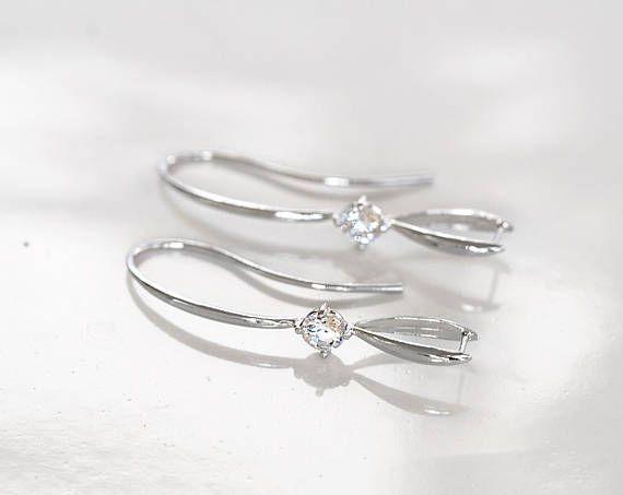 2861 Silver earring hooks 37 mm Cubic zirconia Earring