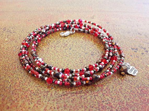 Bracciale rosso e bronzo // Bracciale lungo multigiro di perline e cristalli // idea regalo per lei //