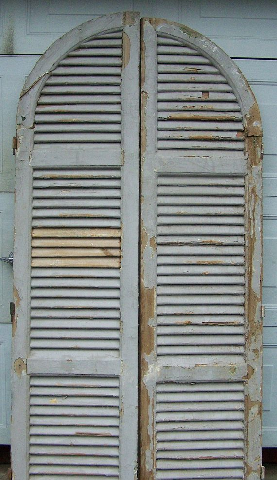 Rustic Vintage Arch Garden Mirror Window Aged Look Shutters French Country Home