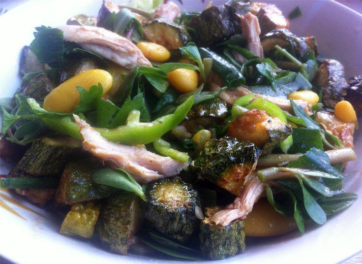 Zucchini, Chicken & White Bean Summer Salad