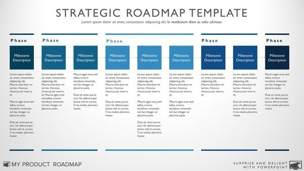 Browse our impressive selection of unique roadmap, timeline and strategy templates. With great offers for all customers, we'll help you surprise and delight your audience with one of our eye-catching templates for PowerPoint!