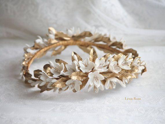 Jasmine gold wreath. Bridal wreath. Boho bridal wreath. Wedding headpiece. Gold…