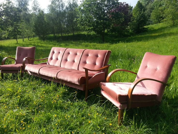 Vintage MIDCENTURY SOFA BED DAYBED & 2  ARM CHAIRS DANISH TEAK GUY ROGERS retro