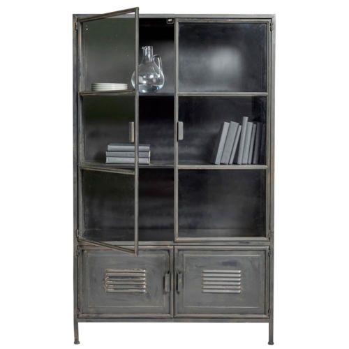 Vitrinenschrank-RONJA-Schrank-Vitrine-Metallschrank-Regal-Metall-Vintage-schwarz