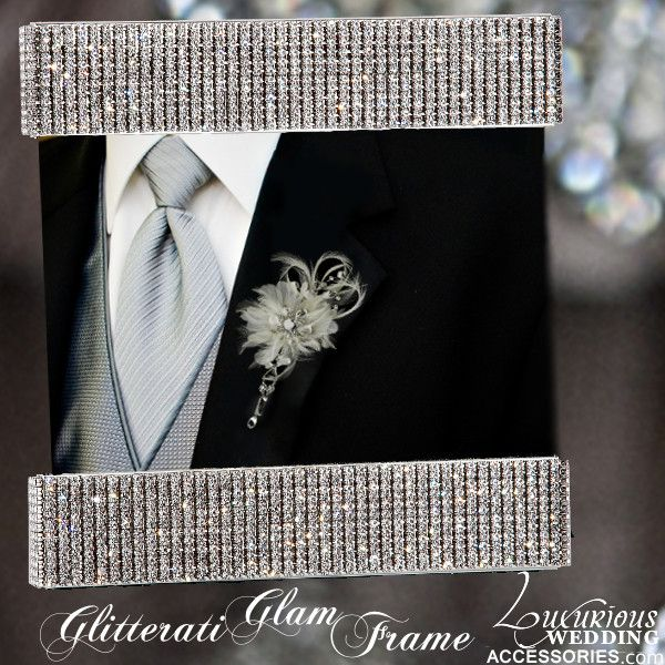 The Glitterati Glam Picture Frame from Luxurious Wedding Accessories is adorned with hand applied bands of crystals. A wedding present that will be cherished forever. #pictureframe #weddingpictureframe