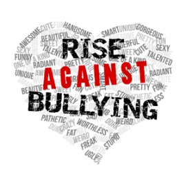 Rise Against Bullying logo. I am 100% against bullying. it doesnt make you cool.