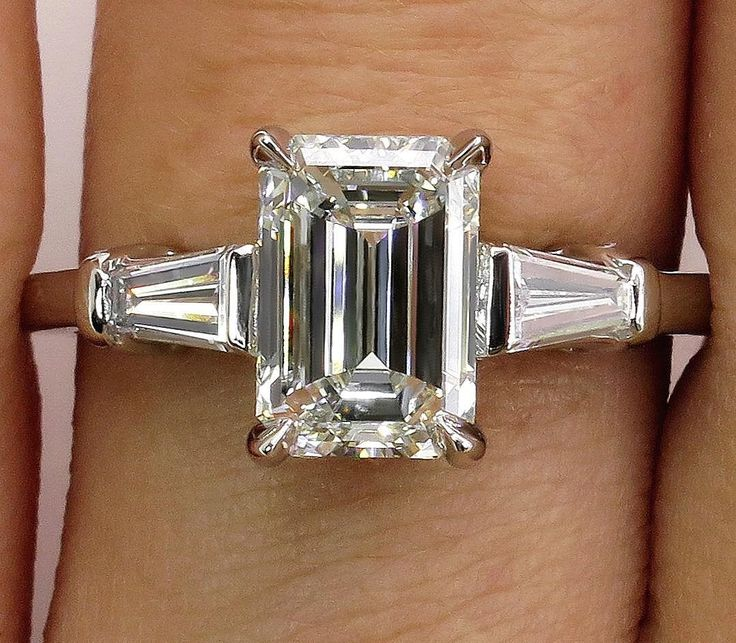 GIA Timeless 2.14ctw Estate Vintage Emerald Cut Diamond Platinum Engagement Wedding Ring by TreasurlybyDima on Etsy https://www.etsy.com/listing/501151742/gia-timeless-214ctw-estate-vintage