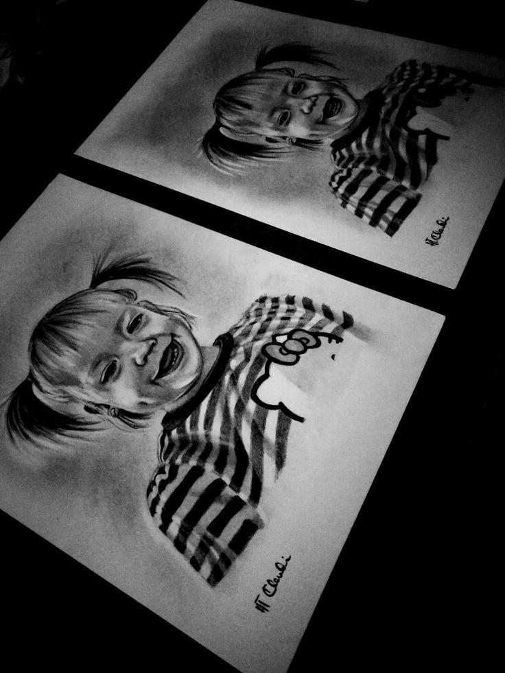 Double portrait drawing by Klaudia Hajós-Tar