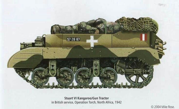 Stuart VI Kangaroo gun tractor, in british service, Operation Torch, North Africa - pin by Paolo Marzioli
