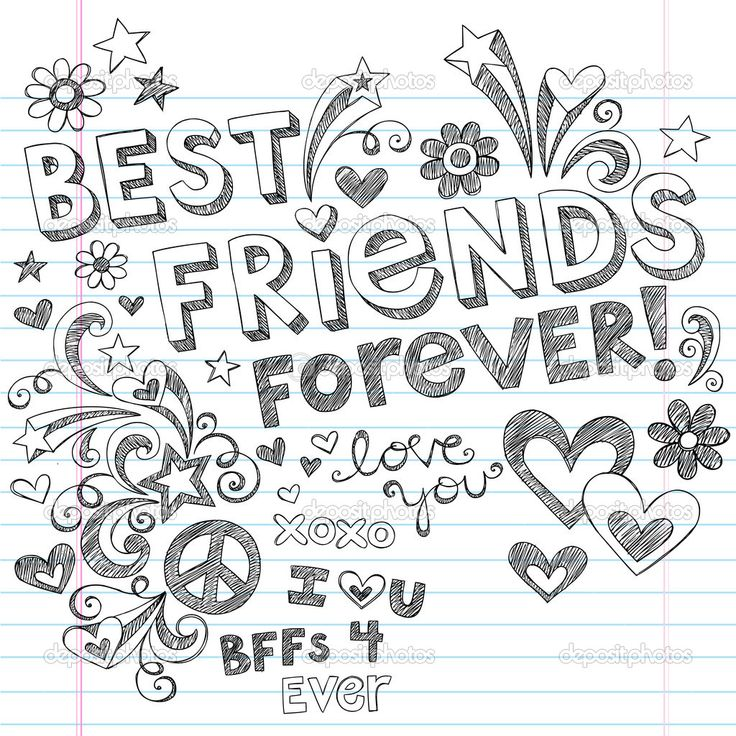 Amazing Each Bff Color Element | BEst Friends Forever BFF Back To School Sketchy  Doodles Vector