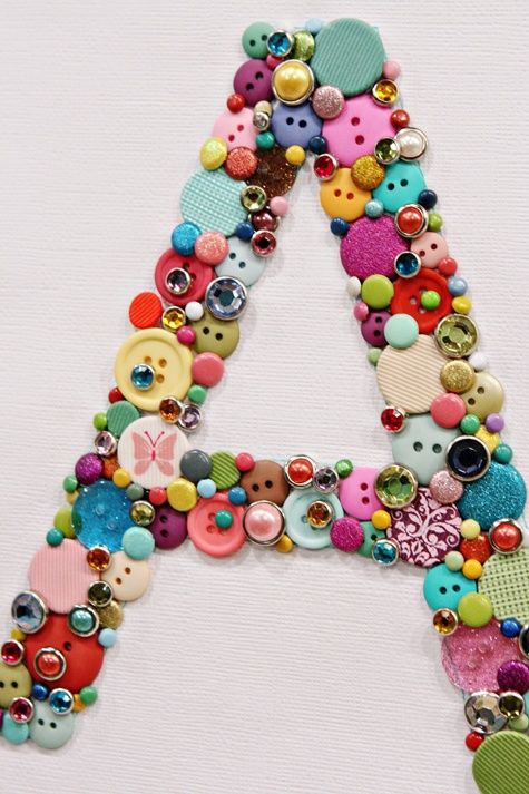 Kid's Room DIY Button Block Letter. Fun craft for kids.- This could be a sparkle girl craft just smaller if we had enough beads.