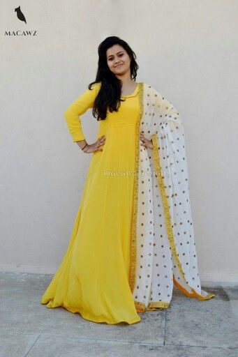 #macawz #designer #instafashion #anarkali ##embroidery #yellow #white #classy
