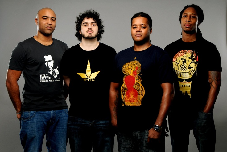 The Scribes wearing THTC designs
