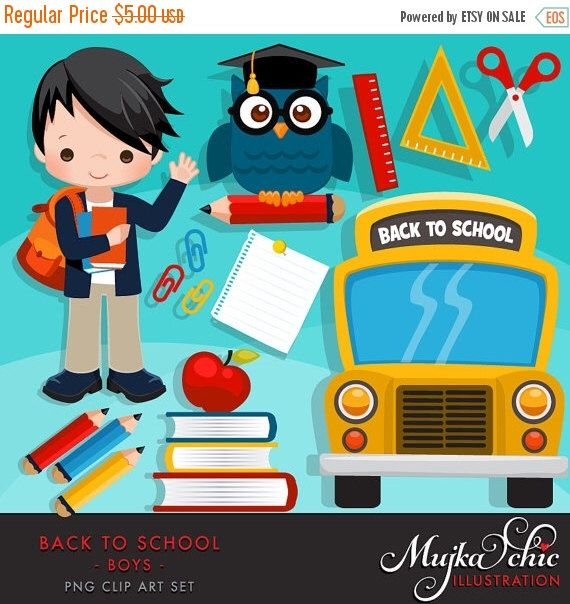 Back to school Clipart. Cute students, school bus, school supplies, apple, owl, stack of books, backpack, african american student graphics by MUJKA on Etsy https://www.etsy.com/uk/listing/453786954/back-to-school-clipart-cute-students