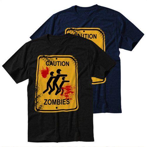 Black+Men's+Tshirt+Caution+Zombies+Black+Shirt+For+Men