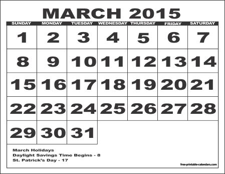 March 2015 PDF Calendar