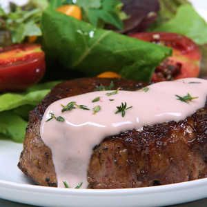 For a colorful take on the classic beurre blanc, we ditched the chardonnay and incorporated rosé into our butter sauce. A beautiful marriage between the tangy flavors of shallots and white balsamic vinegar with the savory body of heavy cream and butter, this sauce goes well over steak, chicken or a rich fish.