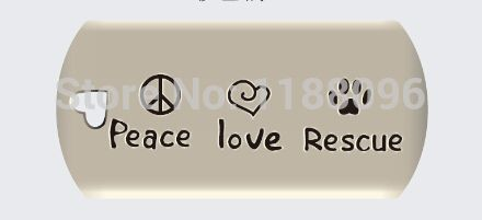 hot sales peace love rescue Dog Tag Wholesale pet Paw Heart tags new rescue Cat tag cheap heart-shaped dog tags