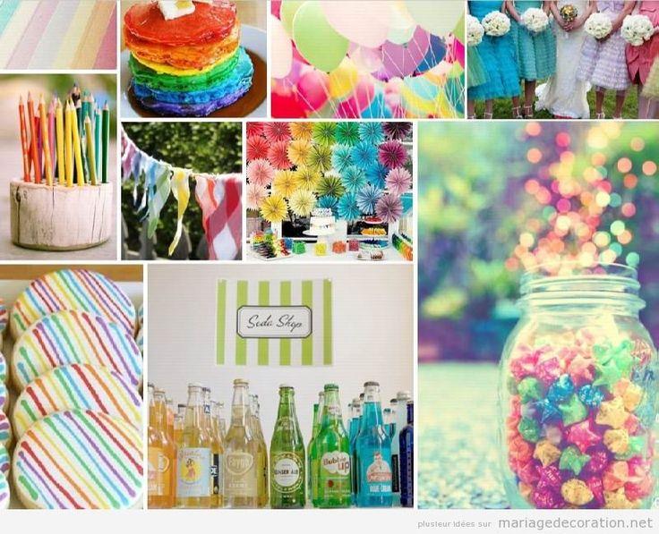 Idées déco mariage couleurs arc-en-ciel pas cher pour le printemps et l'été