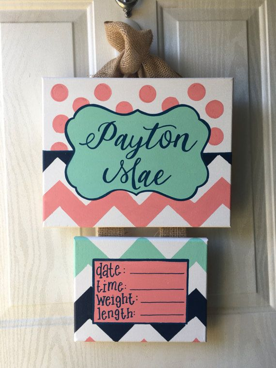 These Birth Announcements make sweet, personlized gifts for a new baby and are great to hang on the hospital door to announce babys arrival! The bottom canvas can be removed for a keepsake and you can hang the top name canvas in babys room! It is painted as shown in the photos or custom painted with colors to fit your babys room. Please note that I will ship door hangers in order by THE DATE NEEDED. I will not ship in order received. We all know that babys may come early (or late) and that…