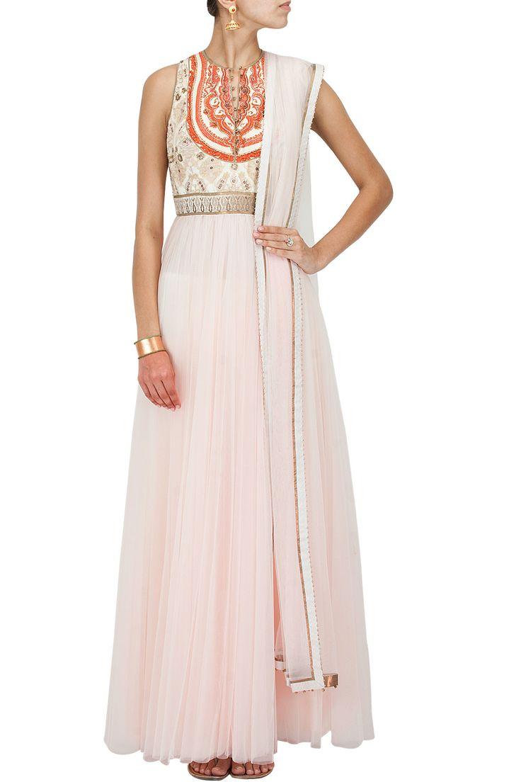 Ivory to salmon pink ombre round neck anarkali set BY JJ VALAYA. Shop the designer now at www.perniaspopups... #perniaspopupshop #jjvalaya #anarkalis #ethnic #designer #stunning #fashion #amazing #fabulous #indian #musthave #happyshopping