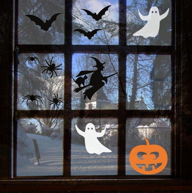 herbst fensterbilder basteln halloween kuerbis gespenster hexe fledermaeuse