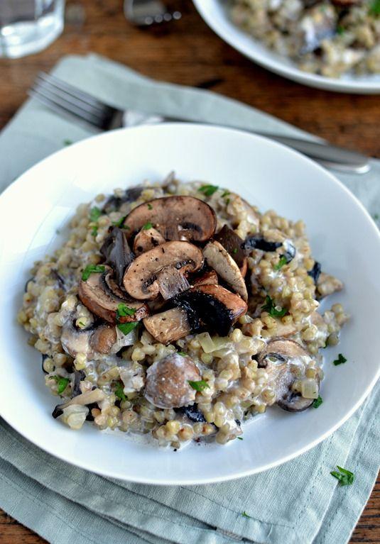 Buckwheat Risotto with Mushrooms & Hazelnut Cream