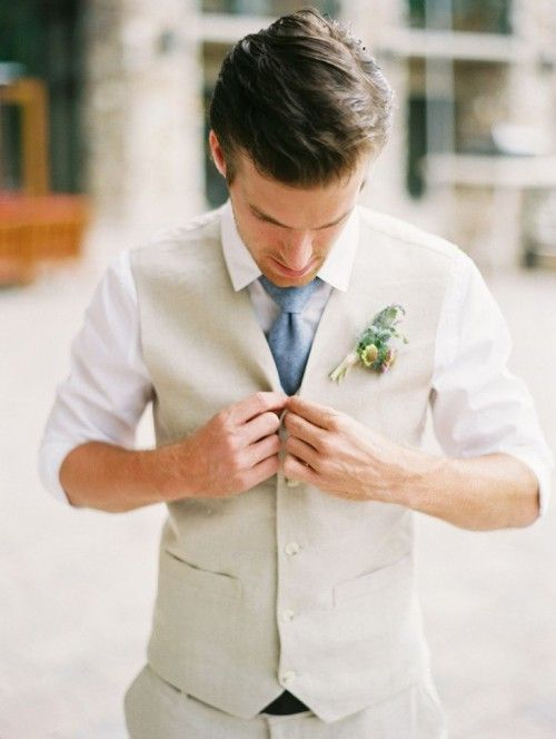 Mens Linen Suit Vest for Beach Weddings, Satin Lining